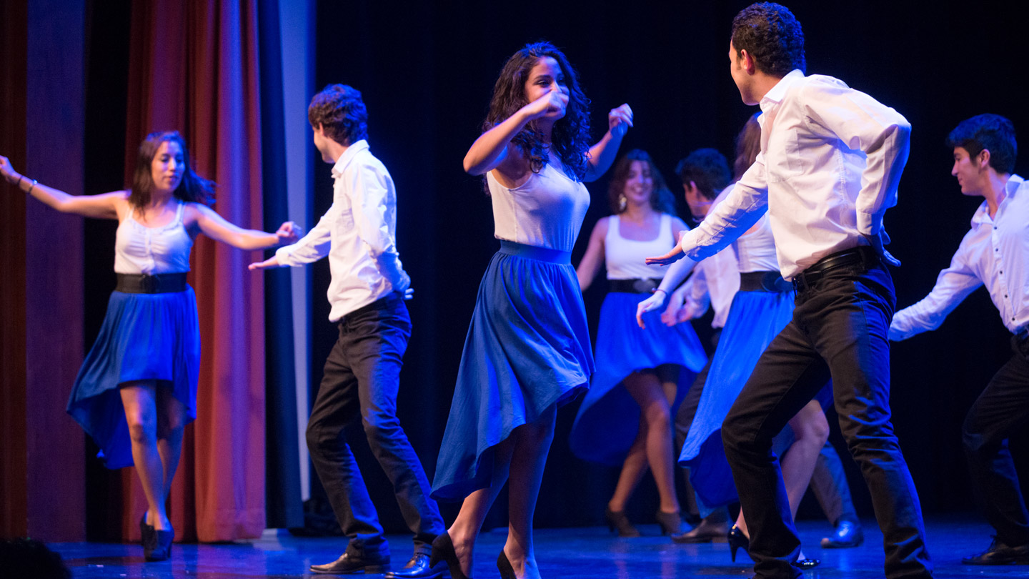 Dancers perform as part of a student-run dance troupe.