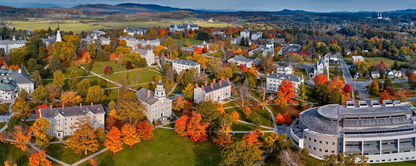 A view of Middlebury's campus from above in Fall