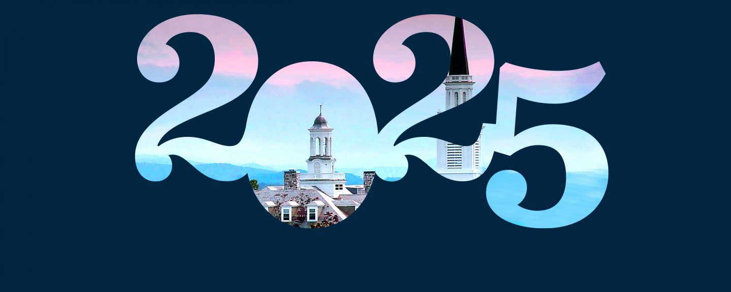 A 2025 graphic with an image of Middlebury's campus inside.
