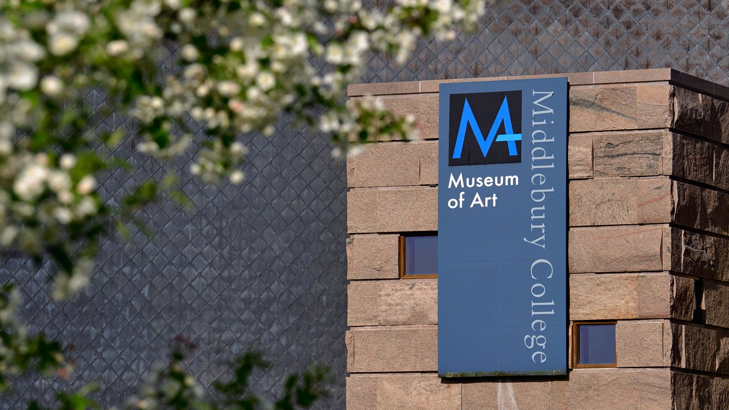 Exterior of the Middlebury College Museum of Art in spring time.