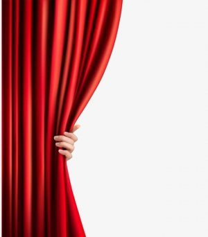 a hand pulling back a red theatre curtain