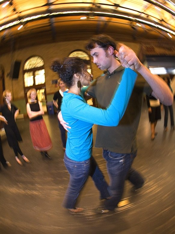 Students dance as part of a class in Middlebury's Wilson Social Space.
