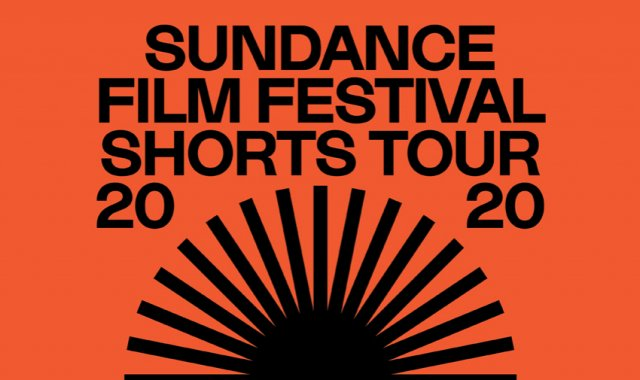 A bight orange and black sun graphic with the words Sundance Film Festival Shorts Tour 2020