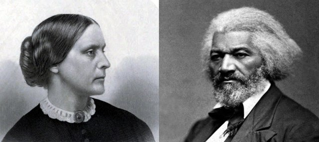 portraits of 1900s abolitionists Susan B Anthony and Frederick Douglass