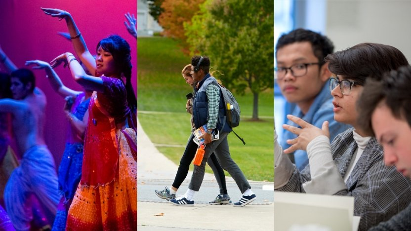 Different groups of students around Middlebury's campus.