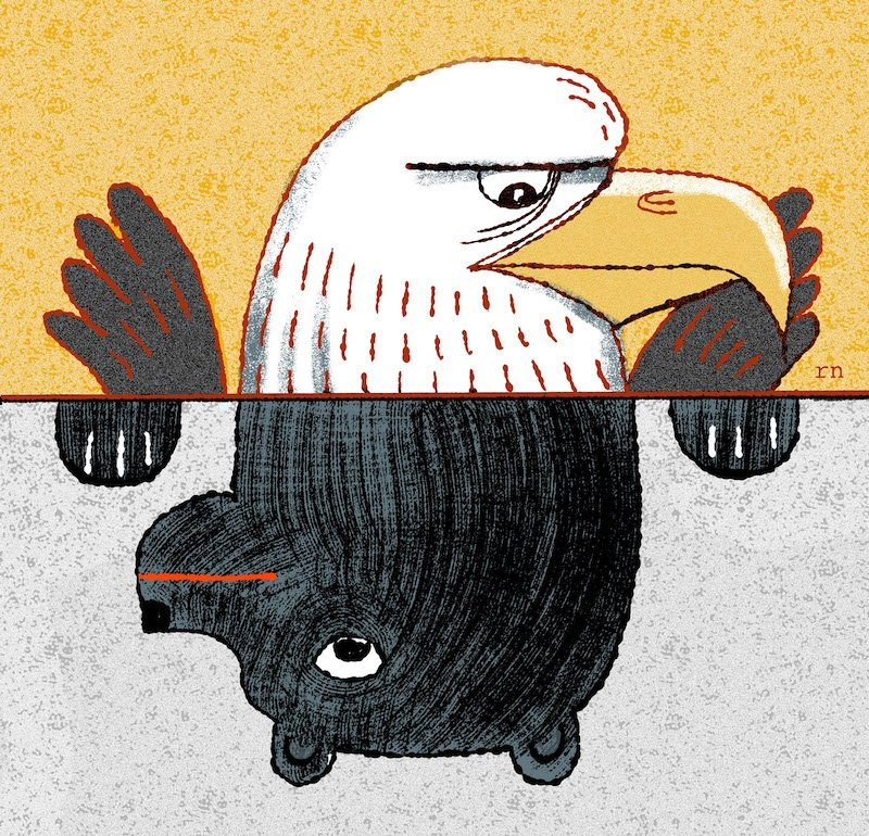 Illustrated image of the US Eagle and Russian Bear