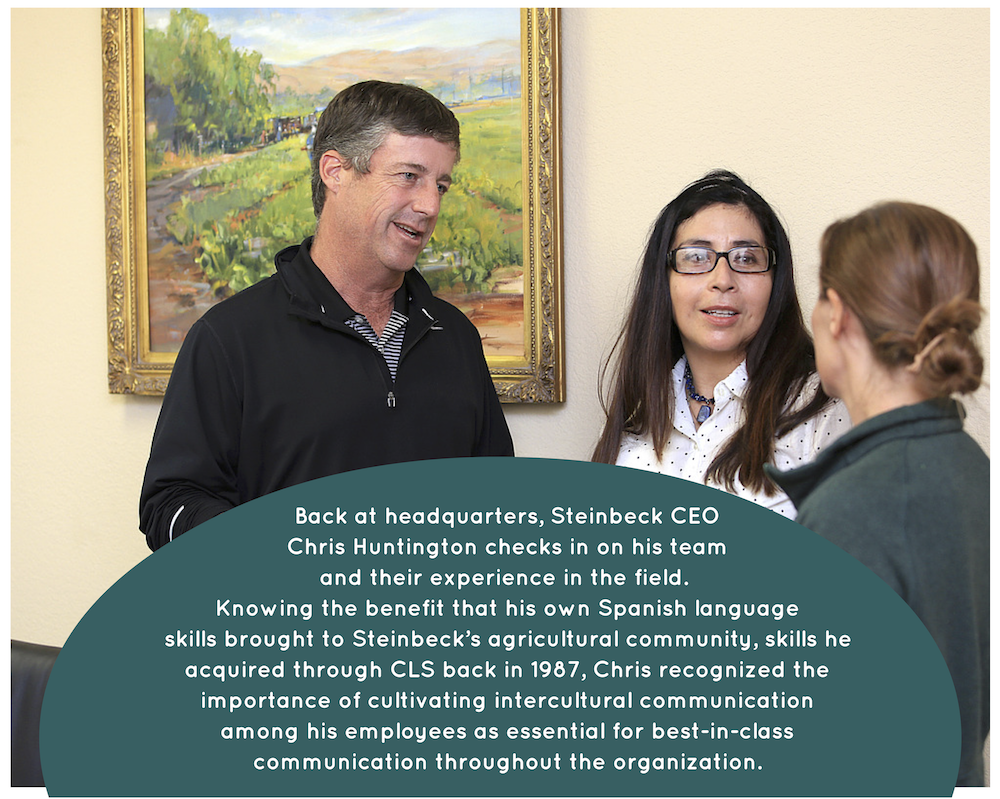 Steinbeck CEO talks with team about their Spanish learning experience.