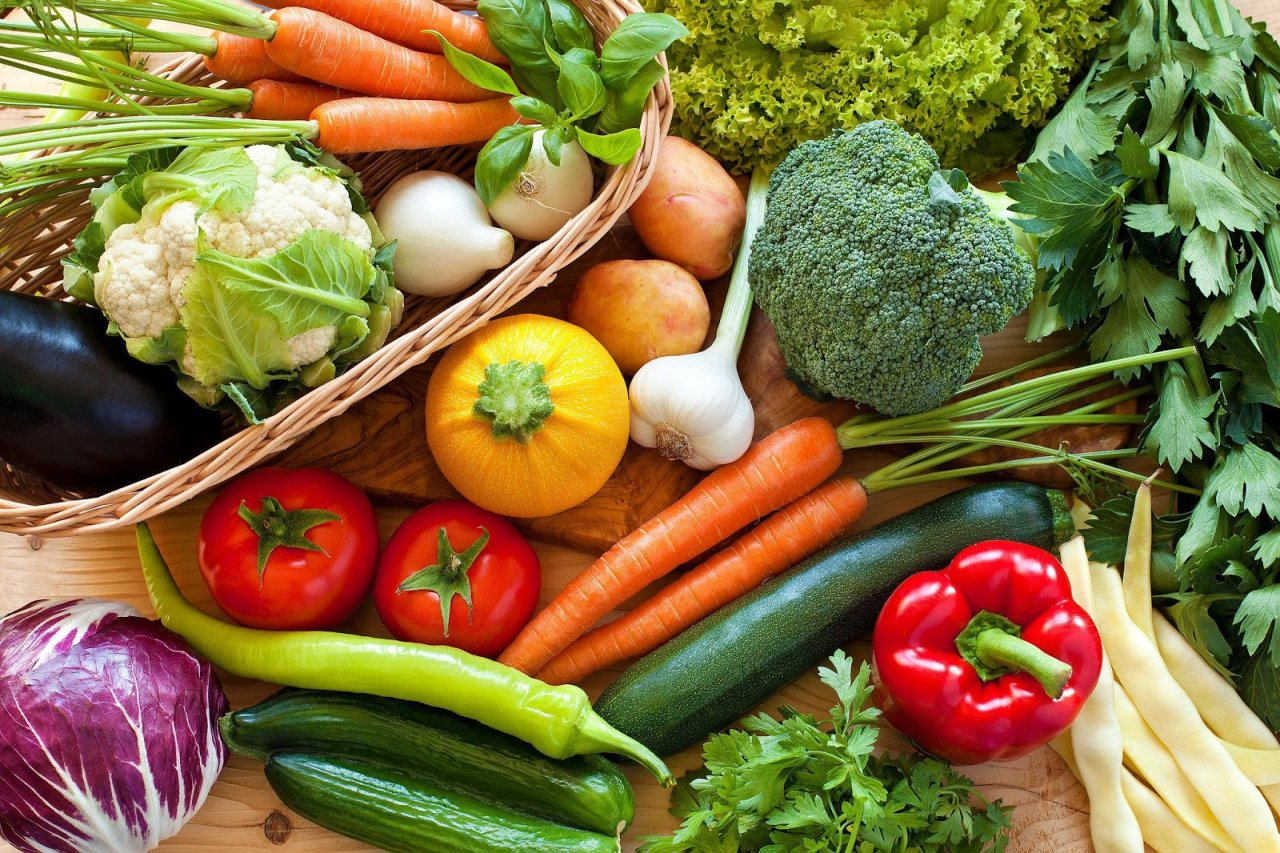 Beautiful array of colorful vegetables, Eat Lower on Food Chain