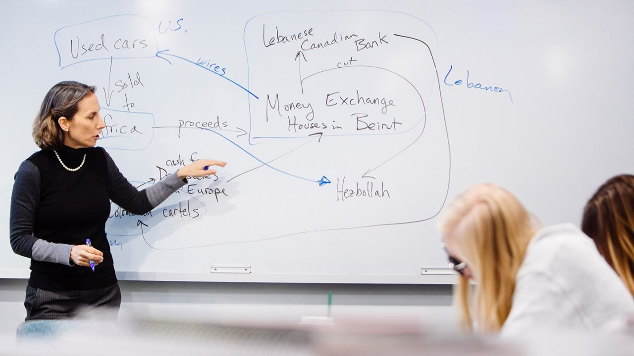 Professor in front of whiteboard showing terrorism financing analysis