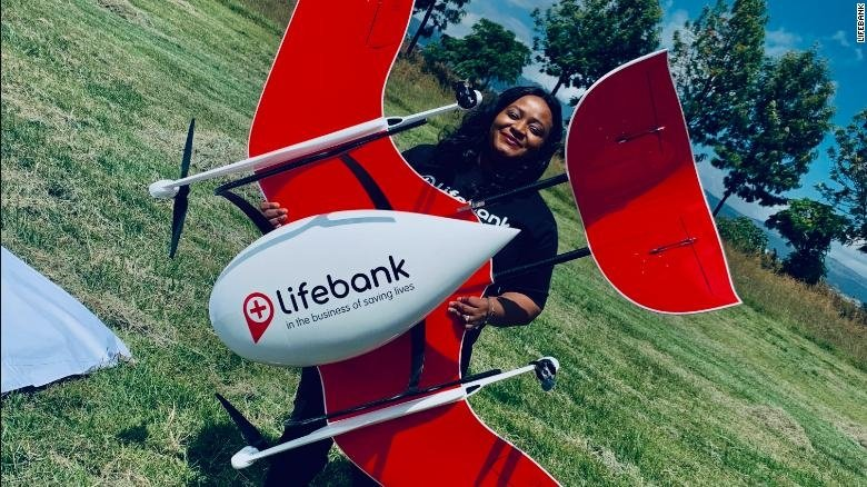 Temie with LifeBank drone