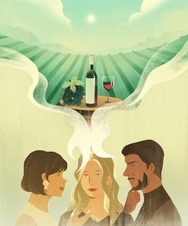 Illustration of people talking and in the speech bubble a bottle of wine and glasses
