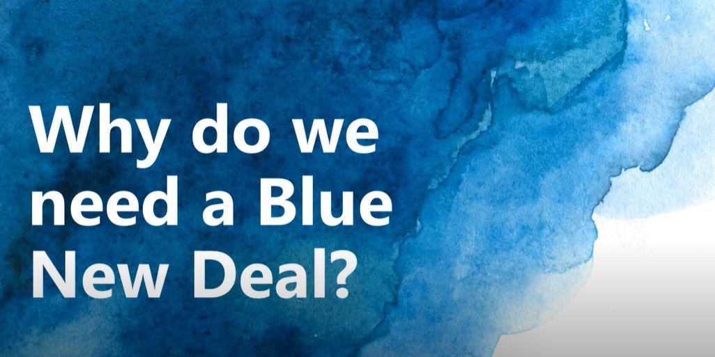 "Slide that says ""Why do we need a Blue New Deal"" with blue, water-like background"