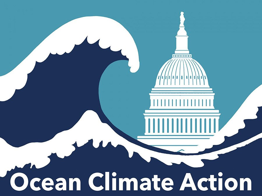 Ocean Climate Action Logo--wave crashing of U.S. Capitol