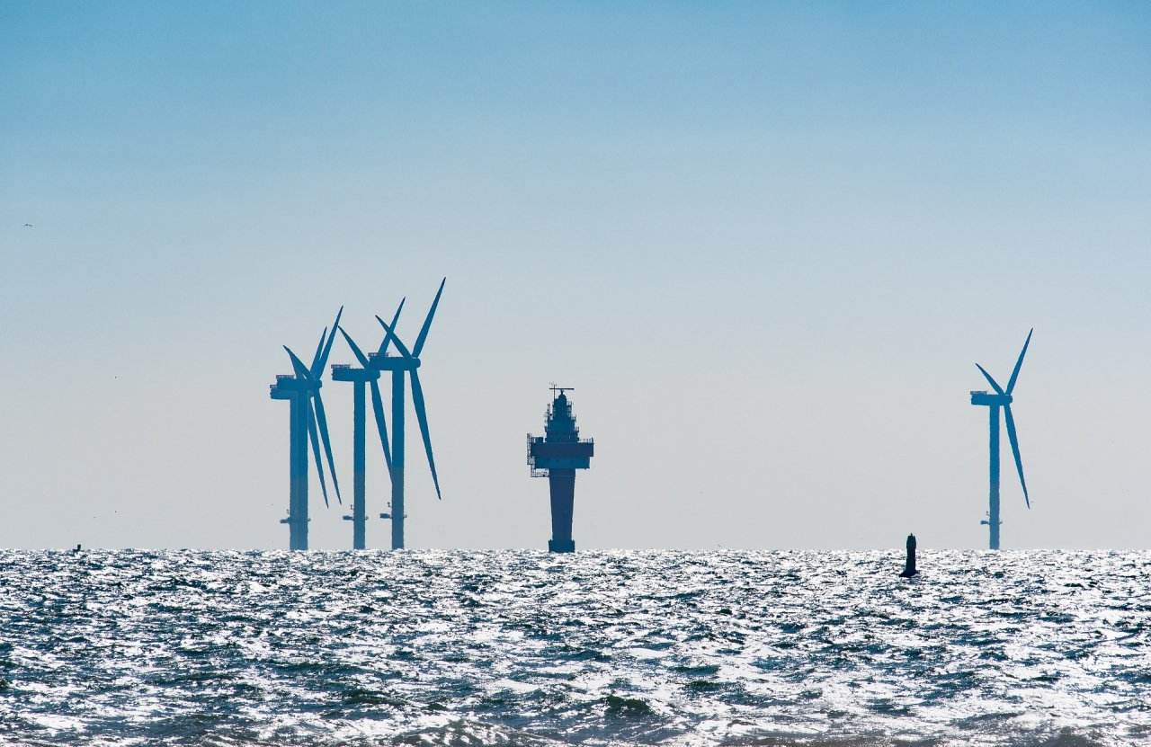 Offshore wind turbines in a choppy sea