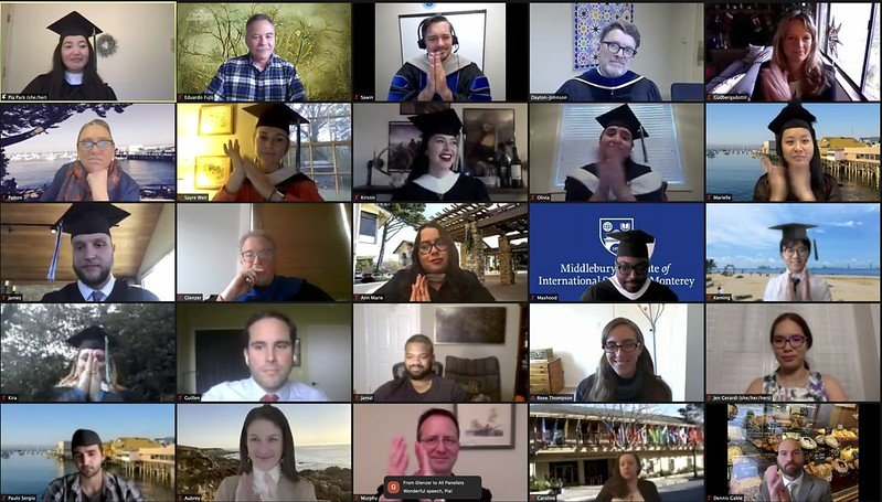 Group screen shot at virtual Winter Commencement 2020 - 1