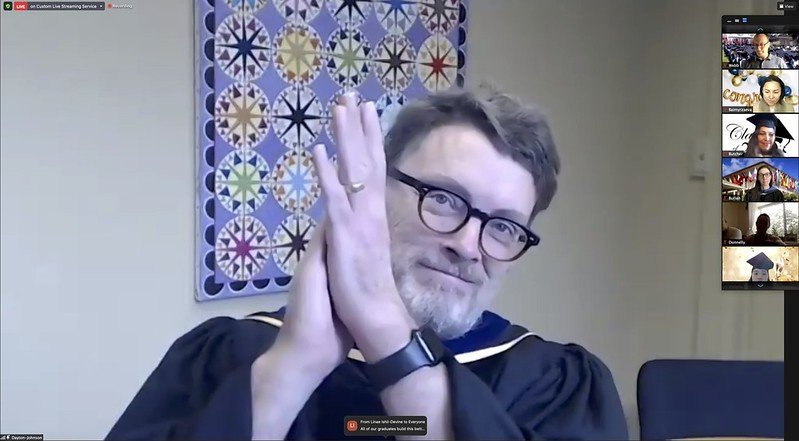 Jeffrey Dayton Johnson clapping his hands