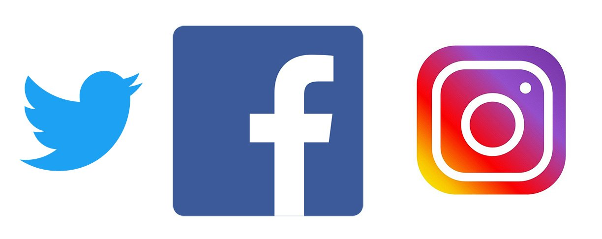 logos for twitter, facebook and instagram