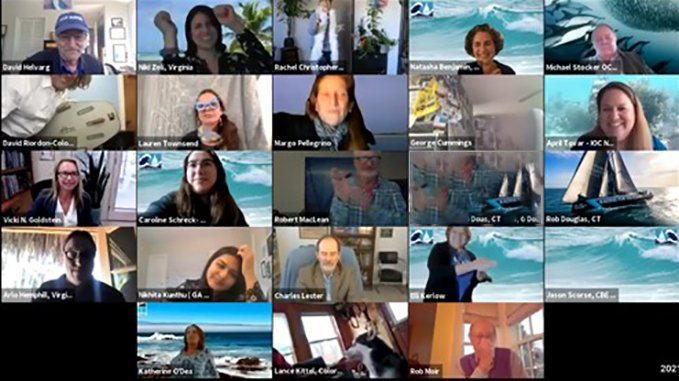 Ocean Climate Action 2021 Lobby Day Closing Celebration on Zoom--a screenshot