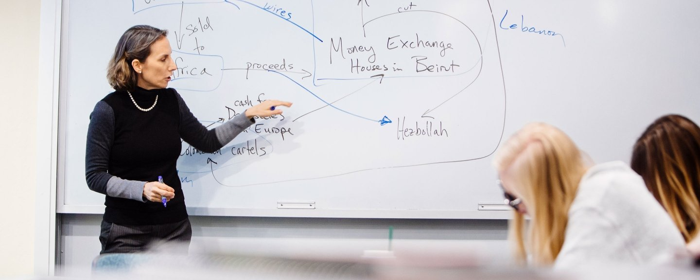 A female professor diagraming for students on a white board.