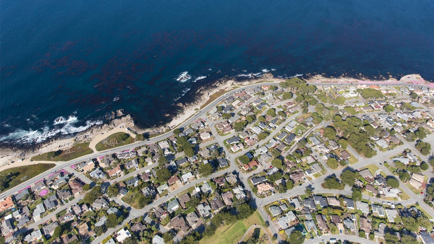 Aerial photo of the Monterey, CA coastline