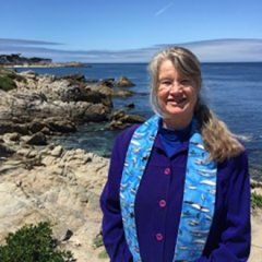 Deborah Streeter, woman with long hair standing in front of ocean and shore, wearing blue shirt, light blue scarf, hosted by CenterForTheBlueEconomy part of HaywardSpeakerSeries.Sp18