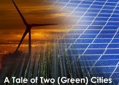 A Tale of Two (Green) Cities image of wind turbine and solar panels