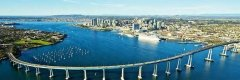 San Diego California, view of bridge, shoreline, skyscrapers