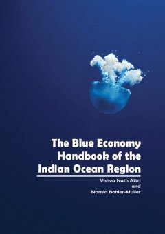 The Blue Economy Handbook of the Indian Ocean Region, Cover, shows blue ocean and blue jellyfish