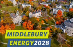 Middlebury Energy2028 logo over campus scene