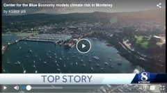 Screen shot of TV news story on climate change in Monterey