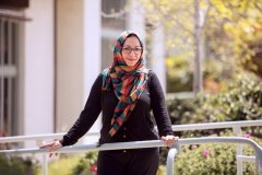 Hajar Masoud outside on campus