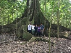 Local tour guides and interpreters with Samantha in the Colombian Amazon