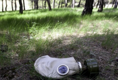 Gas mask in field