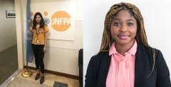 Nasema Zeerak, left, poses with the UN flag at UNFPA and Agostina Ntow, left