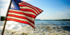 US Flag and ocean