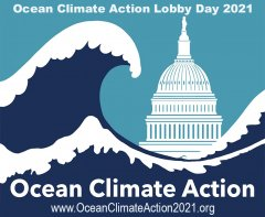 Ocean Climate Action logo, wave over capitol