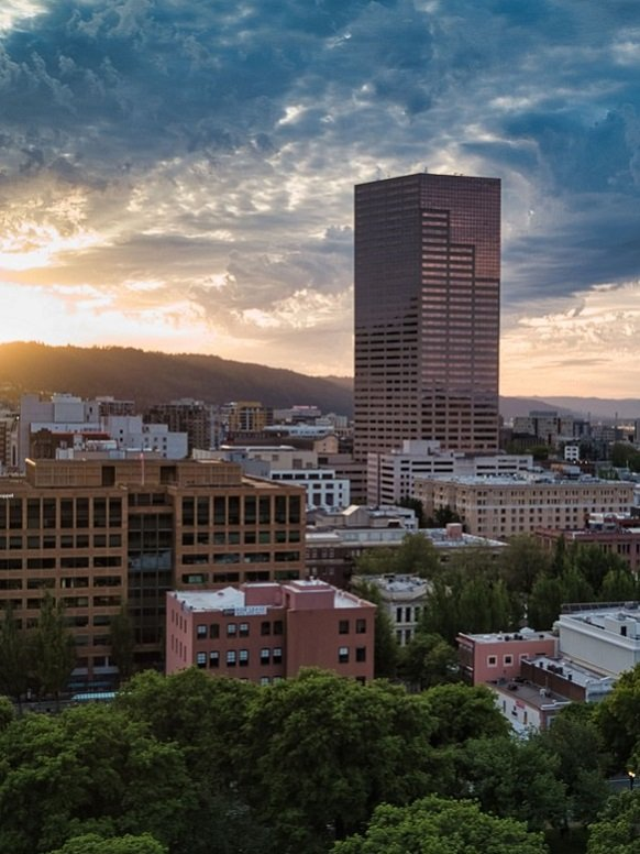 Downtown Portland, Oregon skyline at sunset