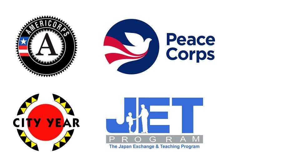 Logos for key Institute partners, including Americorps, Peace Corps, City Year, and JET.