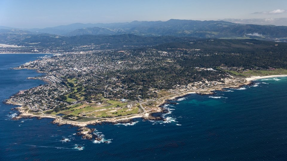 An ariel photograph of the coastline near Monterey, CA.