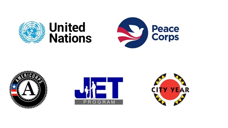 ogos for key Institute partners, including United Nations, Americorps, Peace Corps, City Year, and JET.