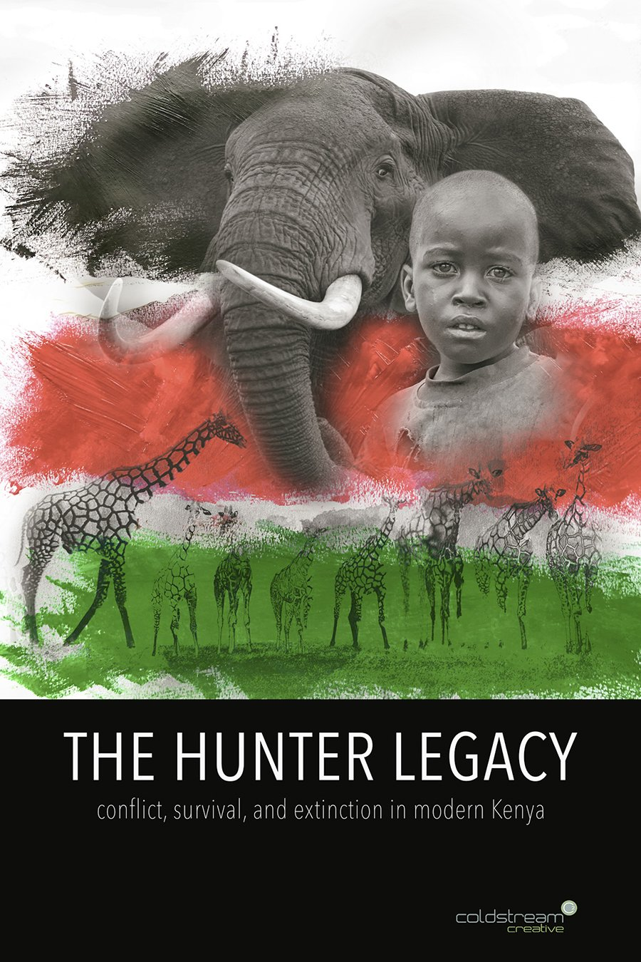 Film poster showing White Red Green horizontal areas with an image of an elephant, a young boy, giraffe and animals--the bottom is black with title of the film.