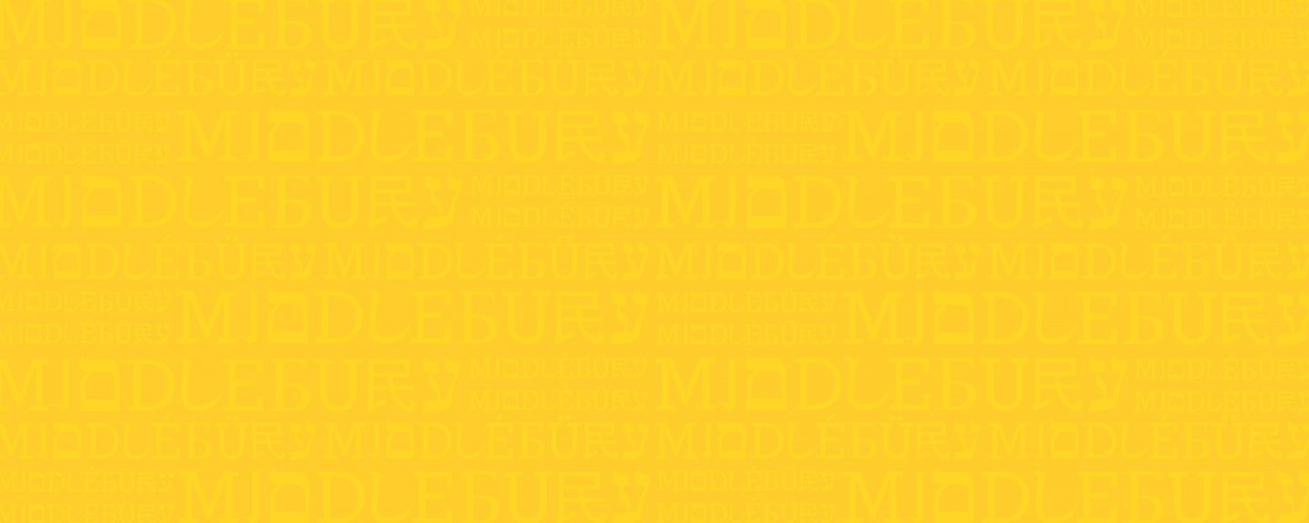 Artwork, yellow background with a repeating pattern of the word Middlebury