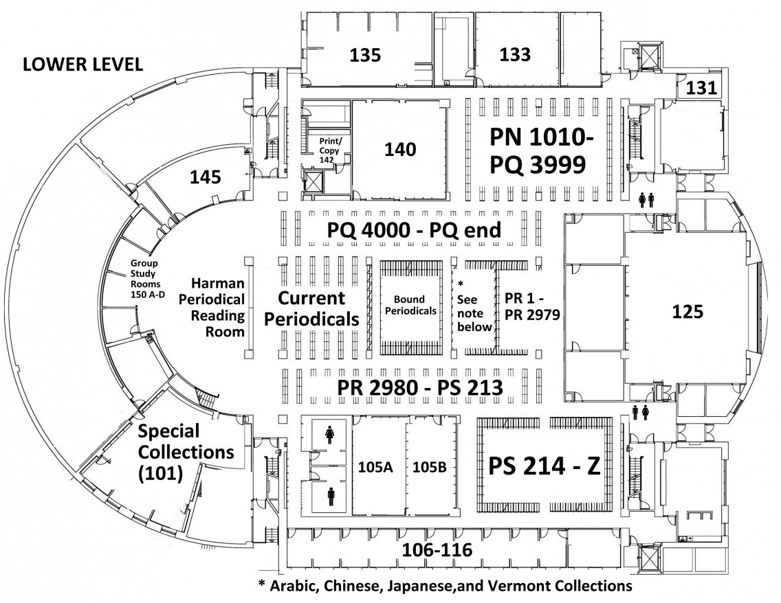 Floor plan of Davis Family Library's Lower Level