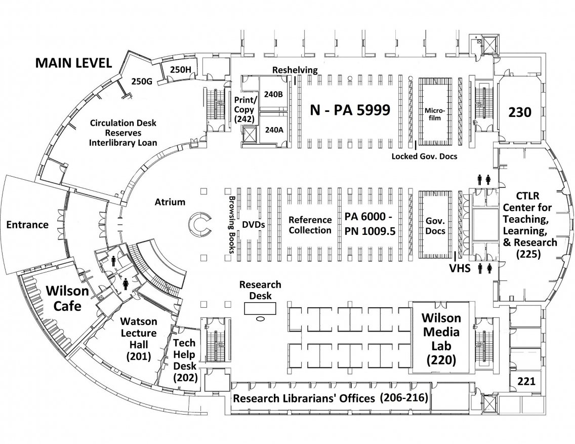Floor plan Davis Family Library's Main Level