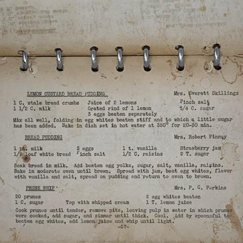 Image showing page from cook book with prune whip recipe