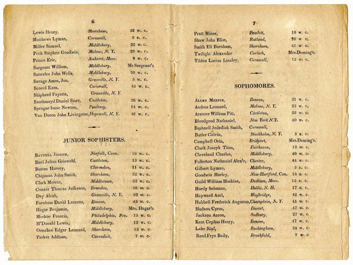 1821 Middlebury College Catalog
