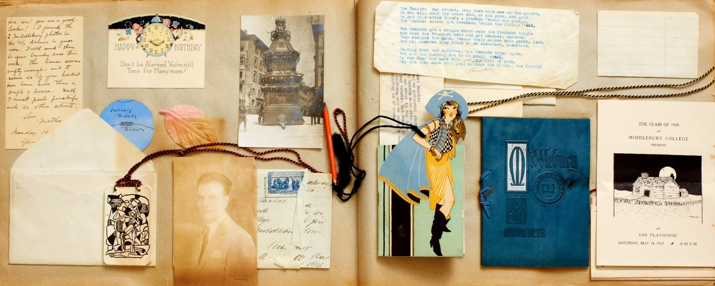 An old scrapbook in Middlebury's Special Collections