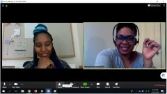screenshot of two women on virtual chat