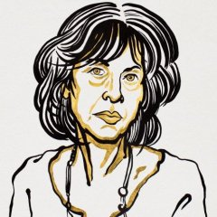 Illustrated portrait of the poet Louise Glück