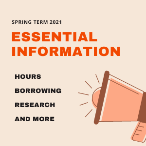 A loud speaker with text 'Spring Term 2021 Essential Information'